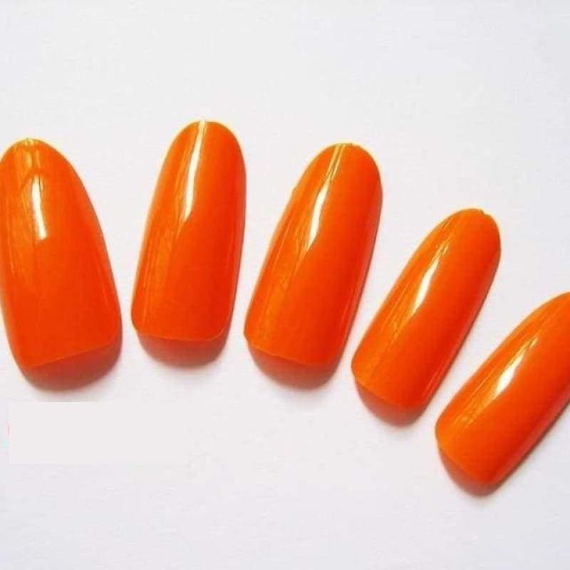 500 Pcs False Tips Nail Art Full Round Acrylic UV Gel Tip - Orange - False Nails