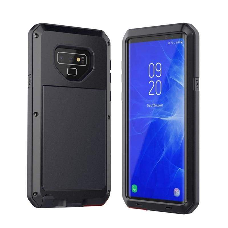 5D Curved Protective Luxury doom Armor Case Metal Samsung - Black / For S10 / add Full Glue Glass - Fitted Cases