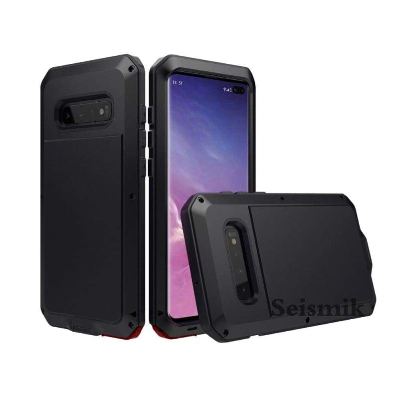 5D Curved Protective Luxury doom Armor Case Metal Samsung - Black / For S10E / add Full Glue Glass - Fitted Cases