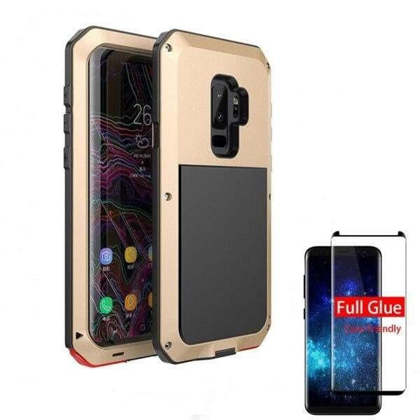 5D Curved Protective Luxury doom Armor Case Metal Samsung - Gold / For Note 8 / add Full Glue Glass - Fitted Cases