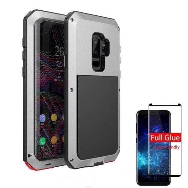 5D Curved Protective Luxury doom Armor Case Metal Samsung - Silver / For Note 8 / add Full Glue Glass - Fitted Cases