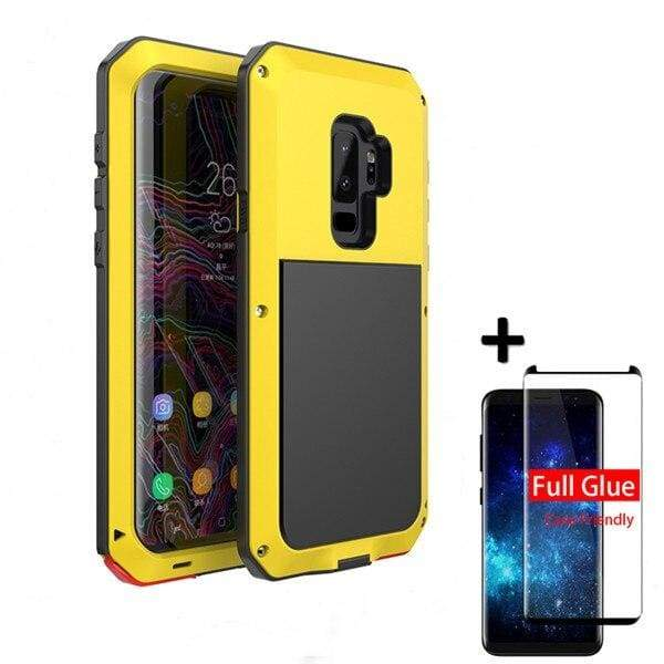 5D Curved Protective Luxury doom Armor Case Metal Samsung - Yellow / For Note 8 / add Full Glue Glass - Fitted Cases