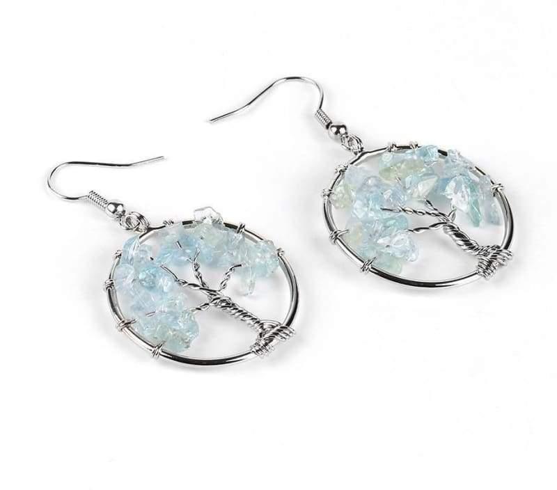 7 Chakra Healing Crystal Dangle - Aquamarine - Drop Earrings