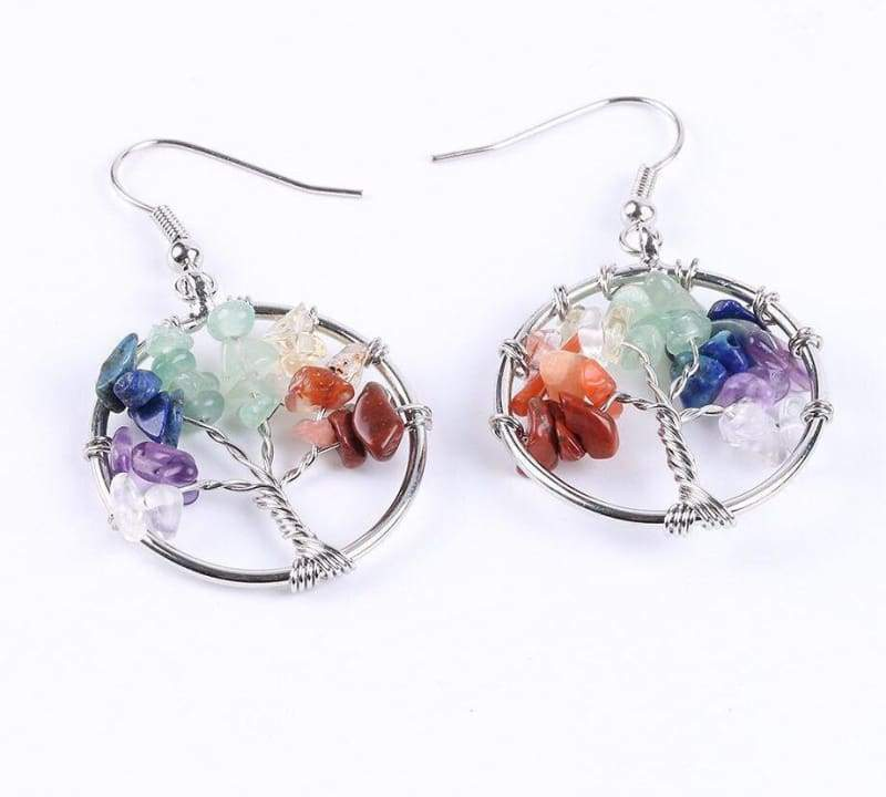 7 Chakra Healing Crystal Dangle - 7 Chakra - Drop Earrings