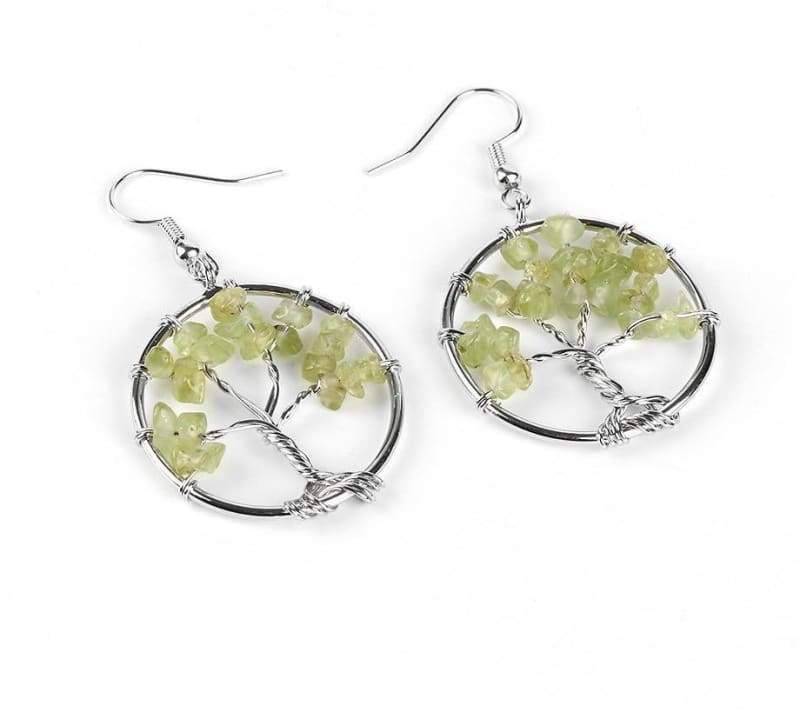 7 Chakra Healing Crystal Dangle - Olive Stone - Drop Earrings