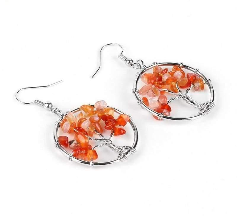 7 Chakra Healing Crystal Dangle - Red Agate - Drop Earrings