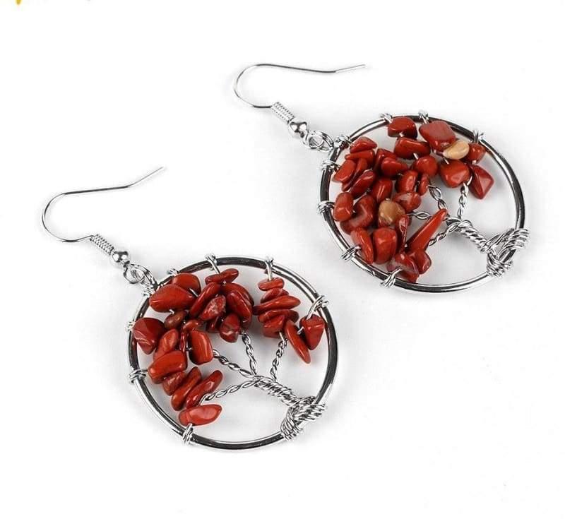 7 Chakra Healing Crystal Dangle - Red Jasper - Drop Earrings