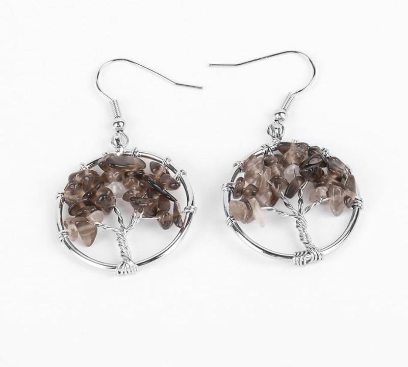 7 Chakra Healing Crystal Dangle - Smoky Quartz - Drop Earrings