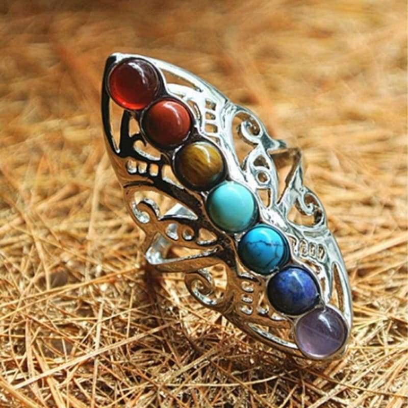 7 Chakras Healing Ring - Resizable - Rings