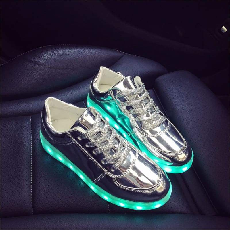 7 Colors Kid Luminous Sneakers - Silver / 1 - LED Shoes