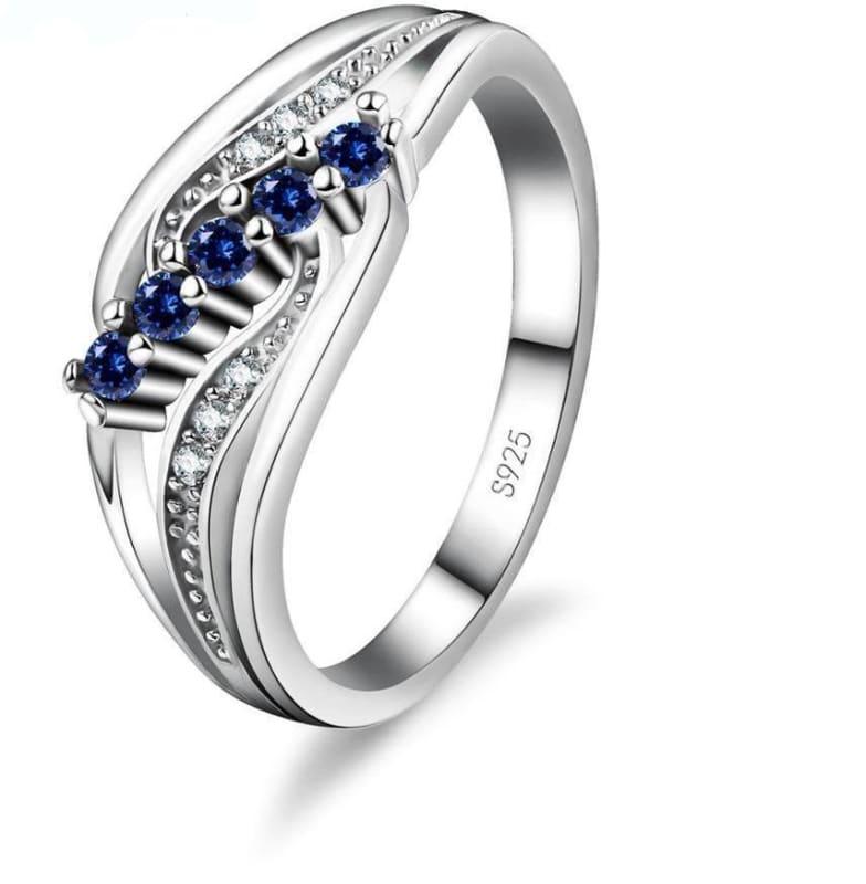 925 Silver Crystal Gem Ring - 6 / Blue - Rings