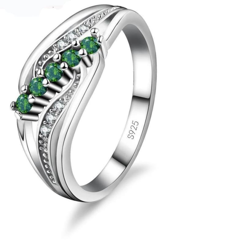 925 Silver Crystal Gem Ring - 6 / Green - Rings