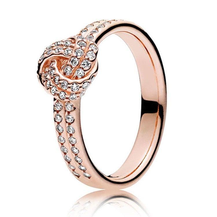 925 Sterling Silver Rose Gold Timeless Elegant Rings - 6 / 12 - Rings
