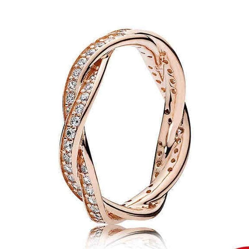 925 Sterling Silver Rose Gold Timeless Elegant Rings - 6 / 4 - Rings
