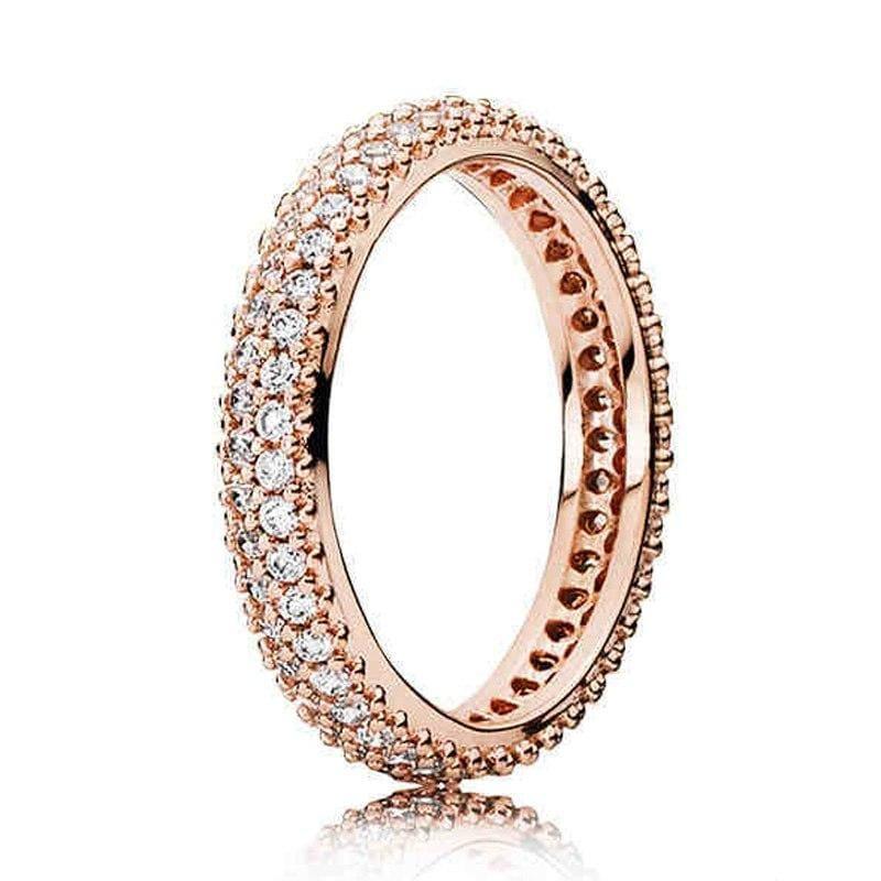 925 Sterling Silver Rose Gold Timeless Elegant Rings - 6 / 8 - Rings