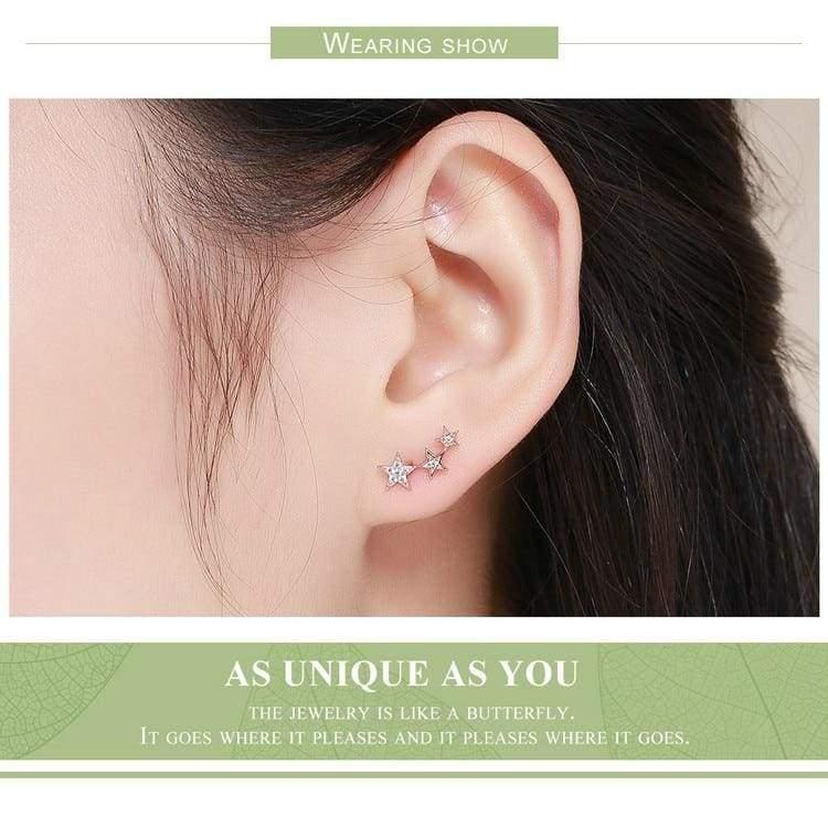 925 Sterling Silver Star Stud Earrings - Stud Earrings