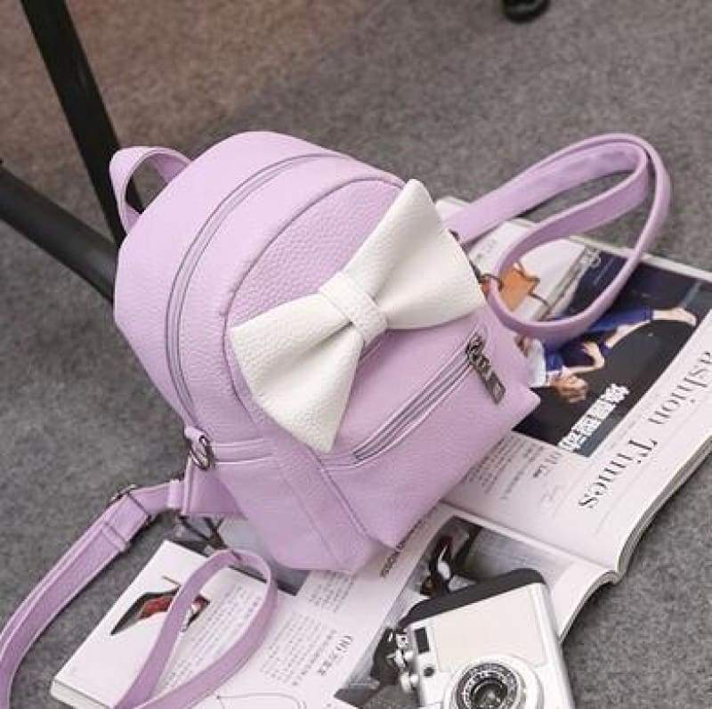 Adorable Minnie Backpack For Girls - No ears Style Purple - Backpacks