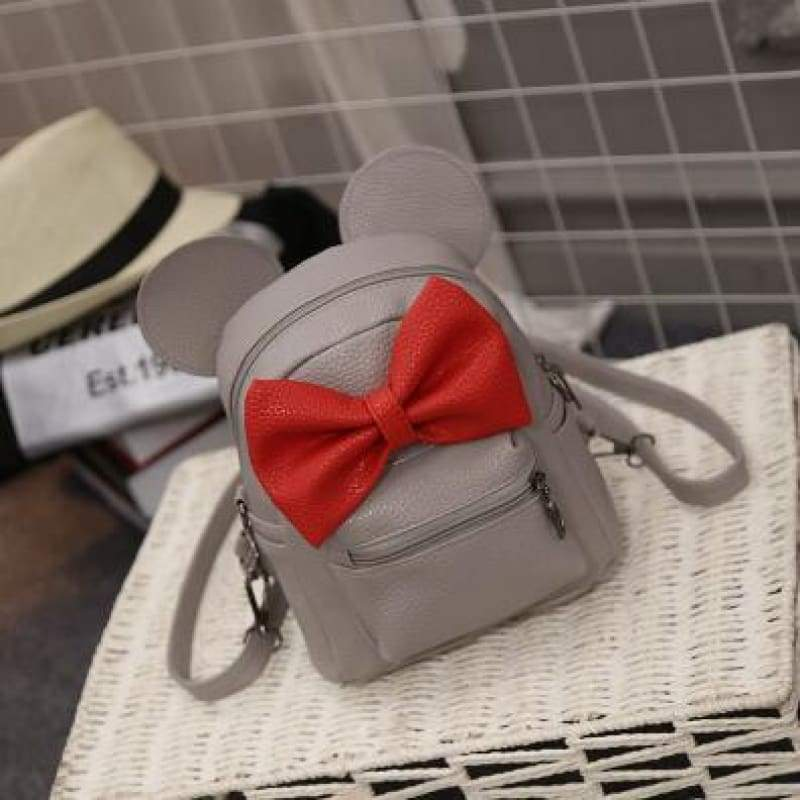 Adorable Minnie Backpack For Girls - Style 3 Gray - Backpacks