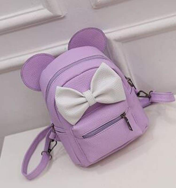 Adorable Minnie Backpack For Girls - Style 3 Purple - Backpacks