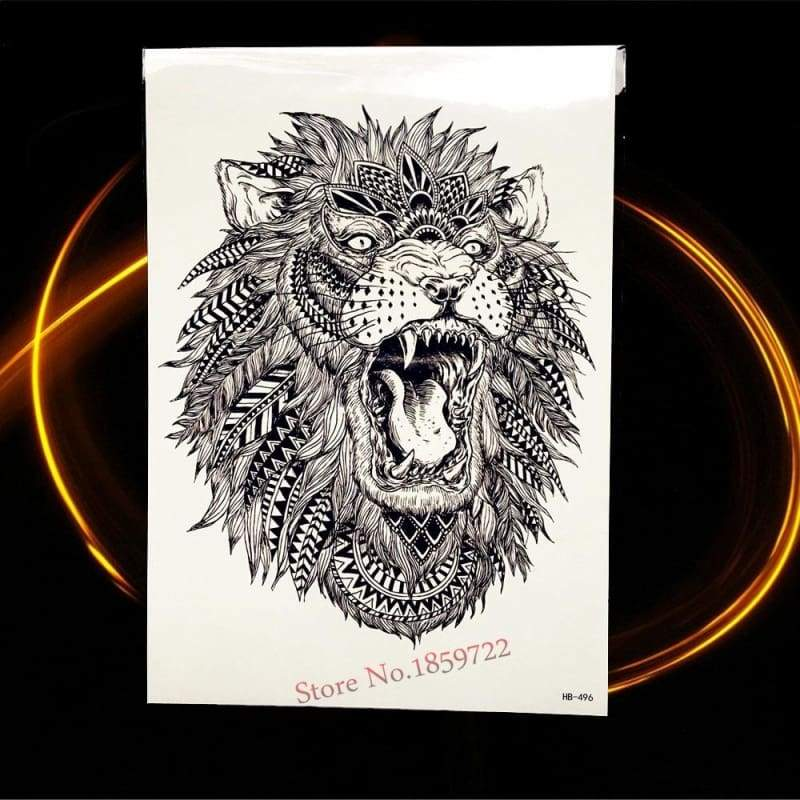 Africa Serengeti Lion Temporary tattoo designs - HHB496 - Temporary Tattoos