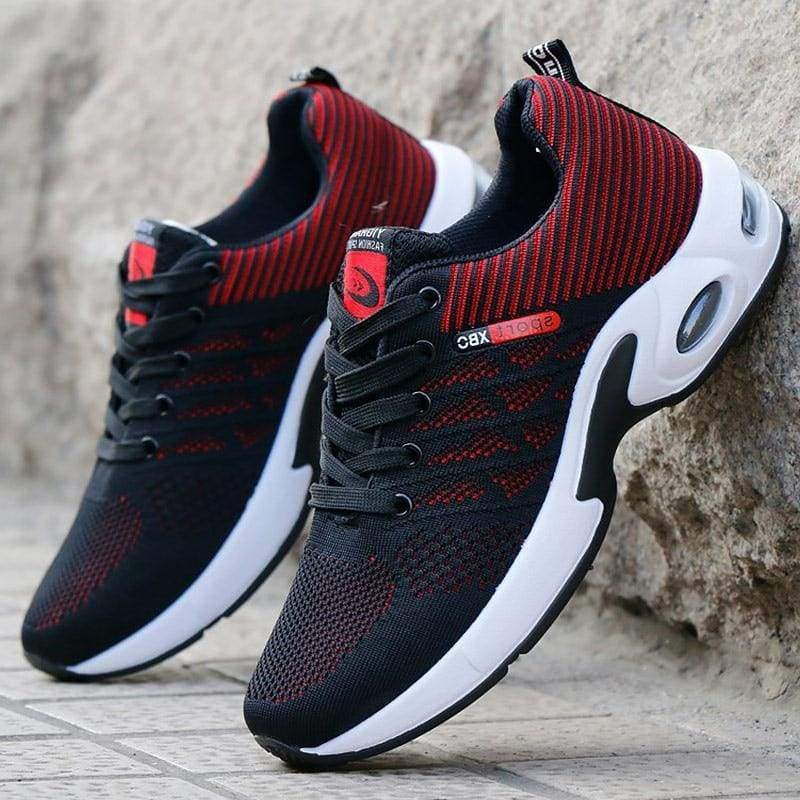 Air Mesh Breathable Sneakers - Red / 6.5 - Mens Vulcanize Shoes