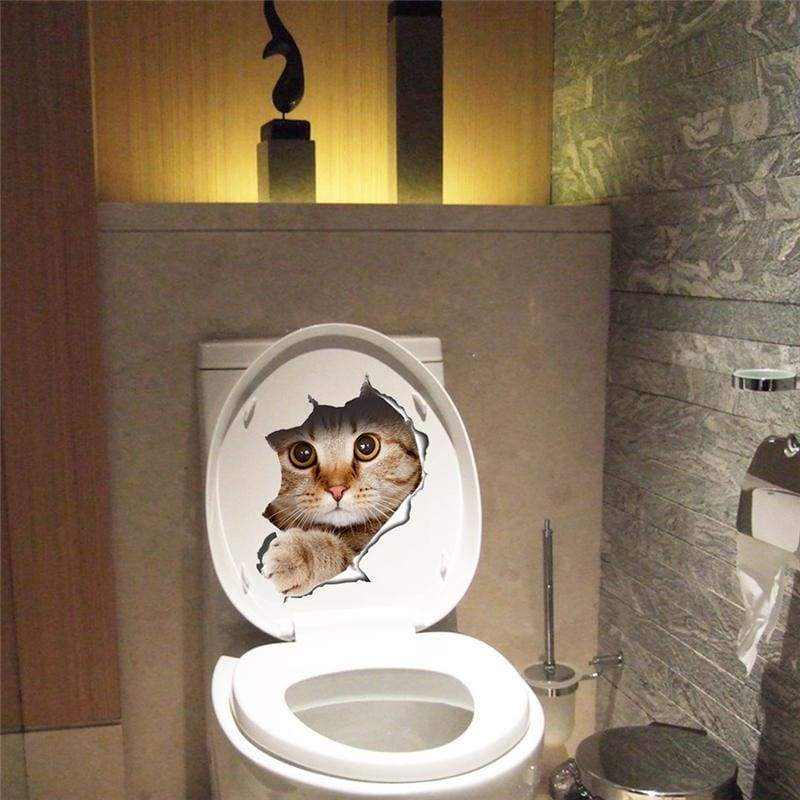 Amazing 3D cat toilet sticker - A-14109 - Wall Stickers