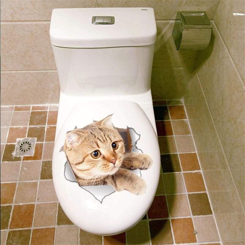 Amazing 3D cat toilet sticker - B-14146 - Wall Stickers