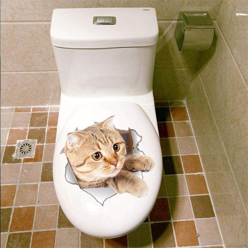 Amazing 3D cat toilet sticker - B-14146 - Wall Stickers