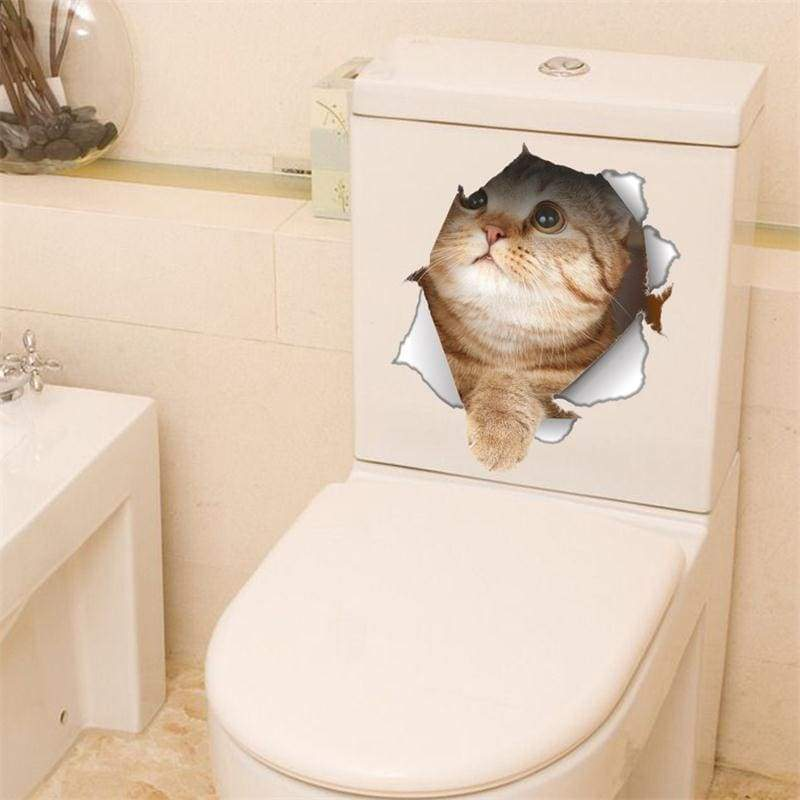 Amazing 3D cat toilet sticker - C-14147 - Wall Stickers