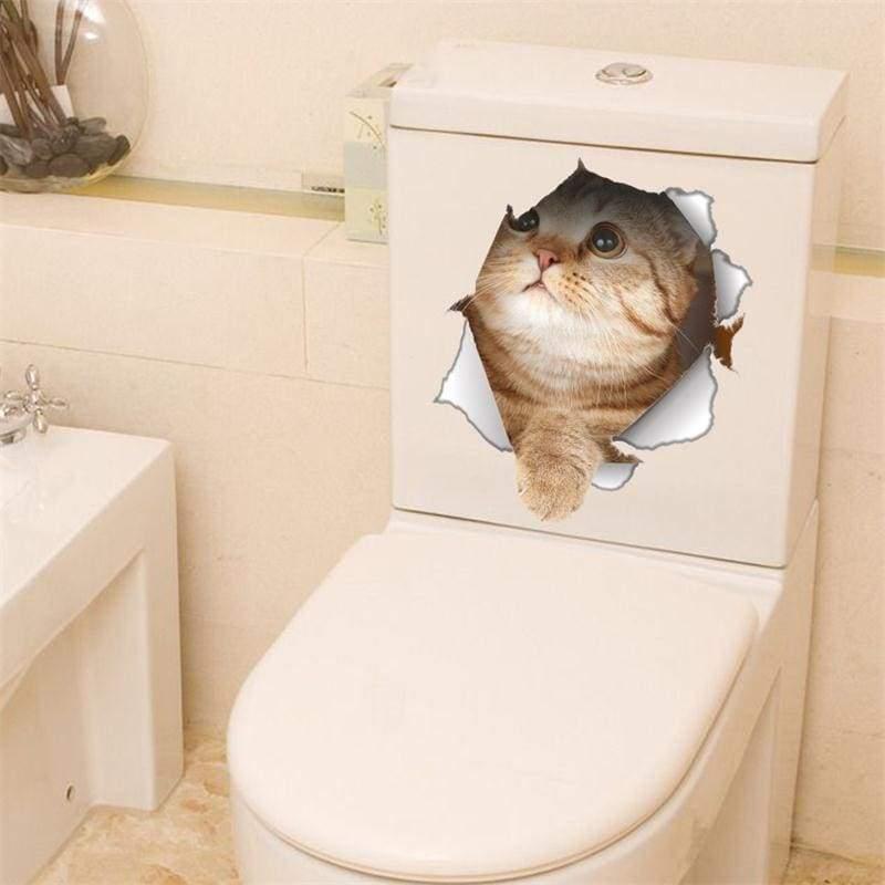 Amazing 3D cat toilet sticker - C-14147 - Wall Stickers