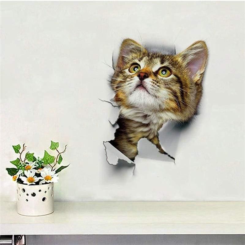 Amazing 3D cat toilet sticker - F-XH2001 - Wall Stickers