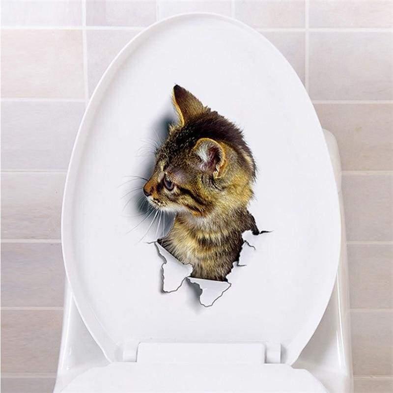 Amazing 3D cat toilet sticker - G-XH2002 - Wall Stickers