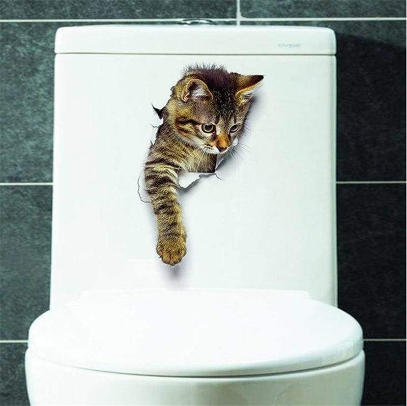 Amazing 3D cat toilet sticker - H-XH2003 - Wall Stickers