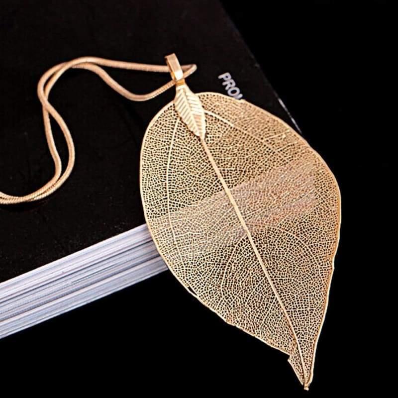 Autumn Leaves Pendant Necklace - Gold - Chain Necklaces