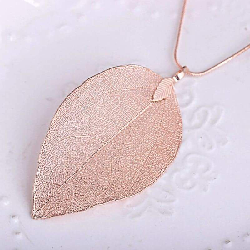 Autumn Leaves Pendant Necklace - Rose Gold - Chain Necklaces