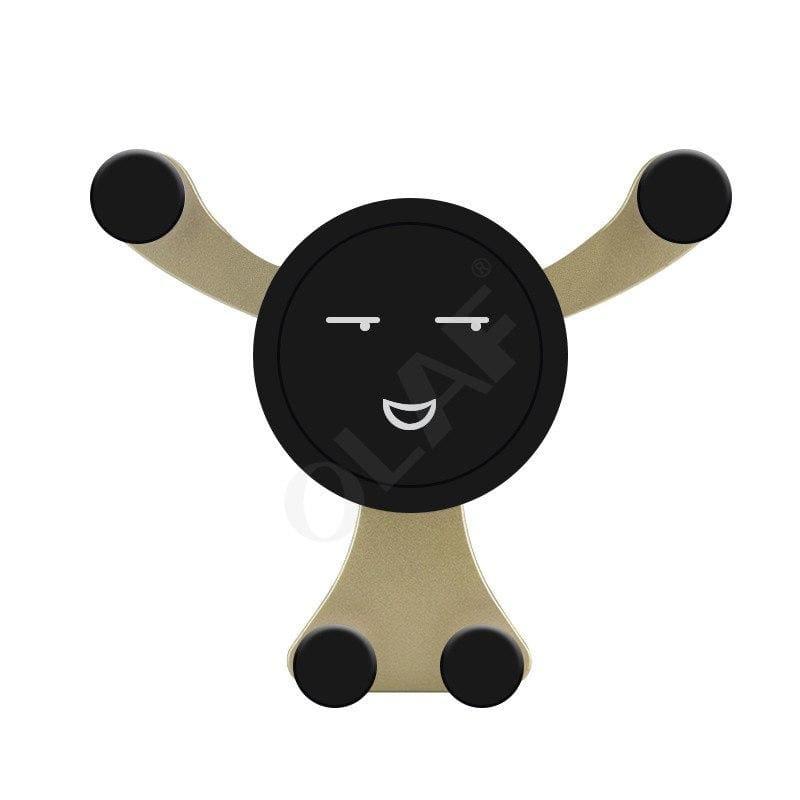 Bear Hug Car Phone Holder - Gold Smiley face - Mobile Phone Holders & Stands