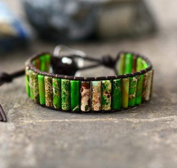 Boho Bracelet Natural Stone Single - Green - Strand Bracelets