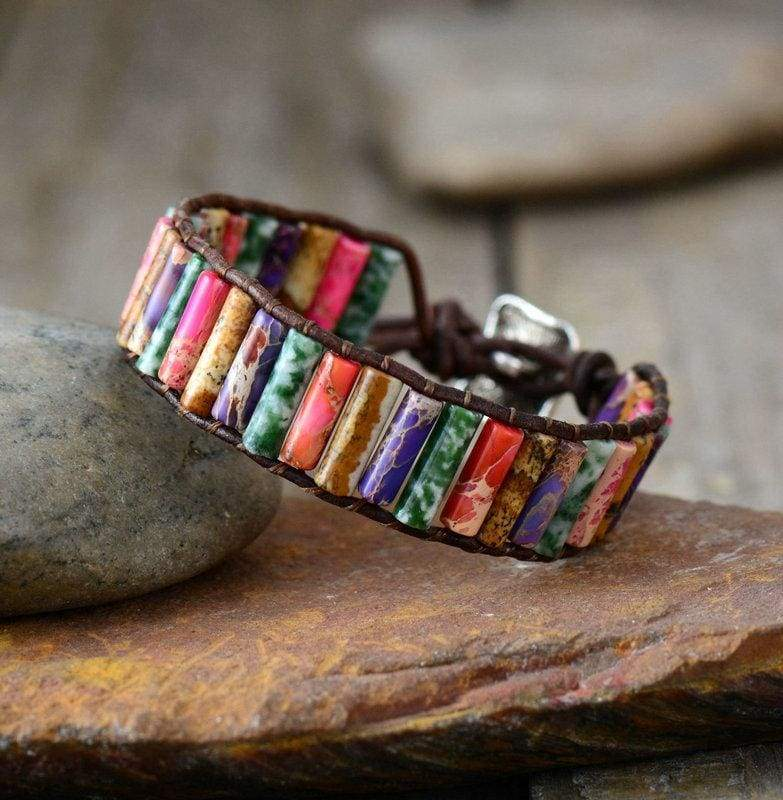 Boho Bracelet Natural Stone Single - Mixed Color - Strand Bracelets