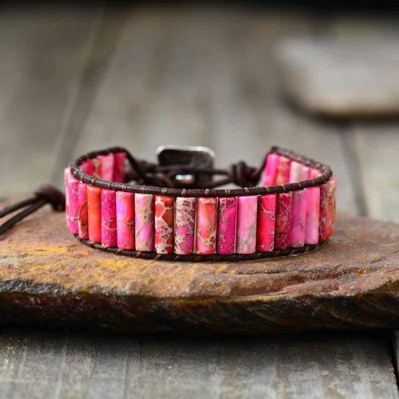 Boho Bracelet Natural Stone Single - Pink Color - Strand Bracelets
