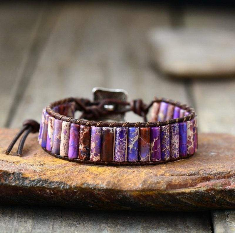 Boho Bracelet Natural Stone Single - Purple - Strand Bracelets