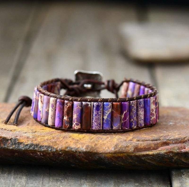 Boho Bracelet Natural Stone Single - Purple - Strand Bracelets