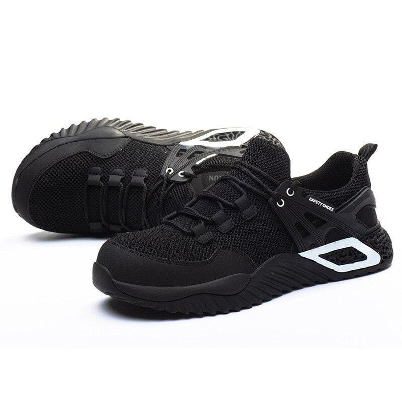 Men's Protective Shoes Breathable Safety Shoes Lightweight Drop-Proof Work Puncture-Proof Safety Boots Men's Casual Shoes - Fine mesh black