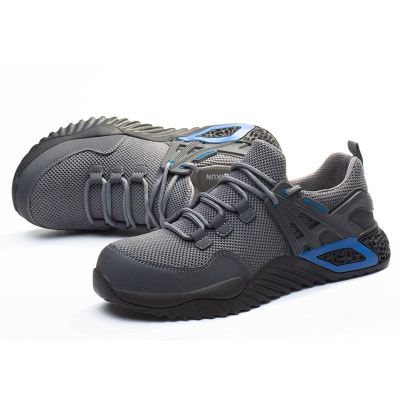 Men's Protective Shoes Breathable Safety Shoes Lightweight Drop-Proof Work Puncture-Proof Safety Boots Men's Casual Shoes - Fine mesh grey /