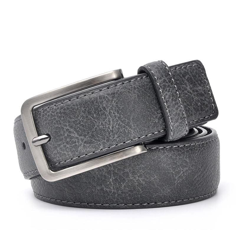 Casual Men Leather Belt - BlackGrey / 100cm 32to35 Inch - Mens Belts