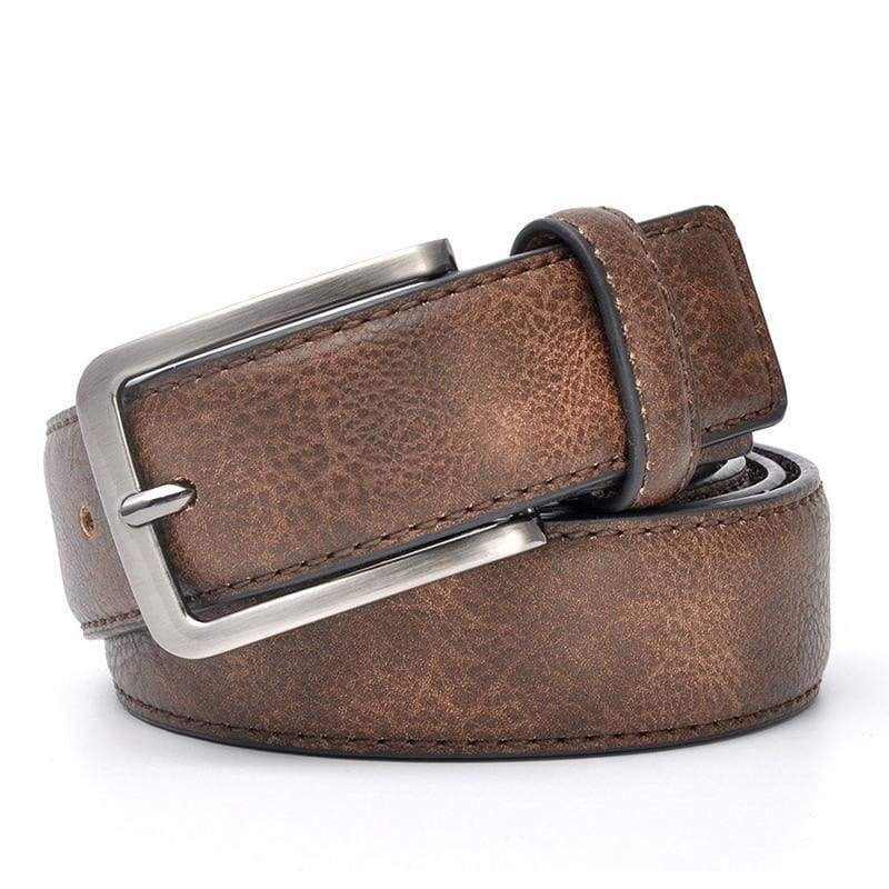 Casual Men Leather Belt - DarkBrown / 100cm 32to35 Inch - Mens Belts