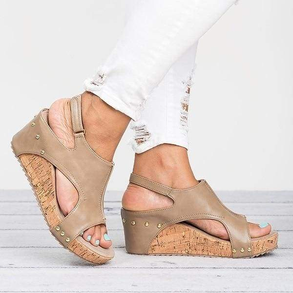 Casual Wedges Shoes Just For You - Beige / 5 - High Heels