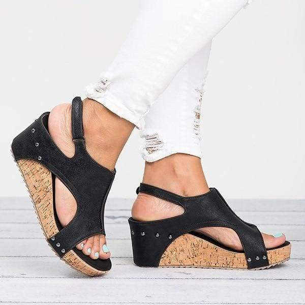 Casual Wedges Shoes Just For You - Black / 5 - High Heels