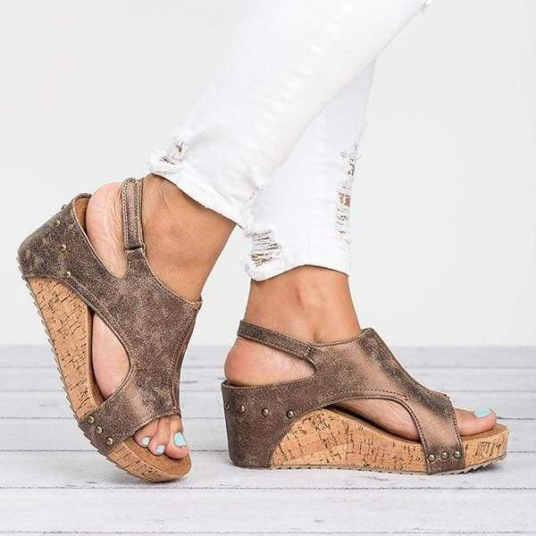 Casual Wedges Shoes Just For You - Brown / 5 - High Heels
