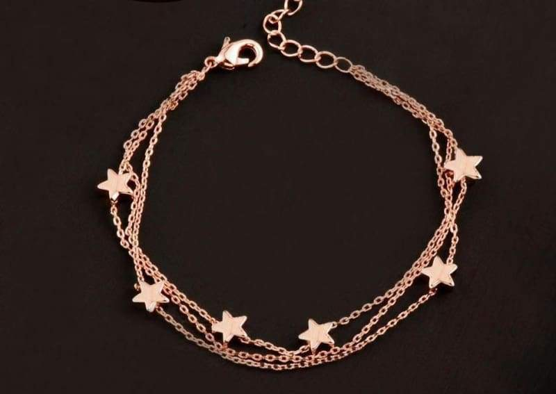 Charm Star 3 Layer Chain Bracelet - heart gold - Chain & Link Bracelets