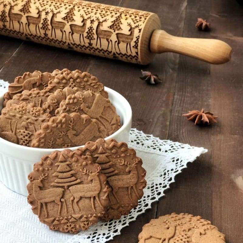 Christmas Embossing Rolling Pin - 43cm Reindeer - Rolling Pins & Pastry Boards
